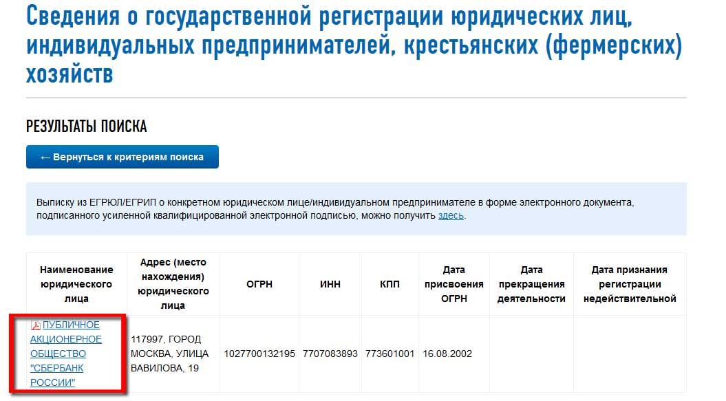 поиск организации по ИНН на сайте ФНС России